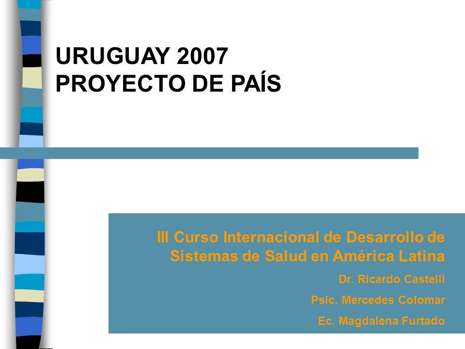 URUGUAY 2007 PROYECTO DE PAÍS III Curso Internacional de Desarrollo de Sistemas de Salud en América Latina Dr.