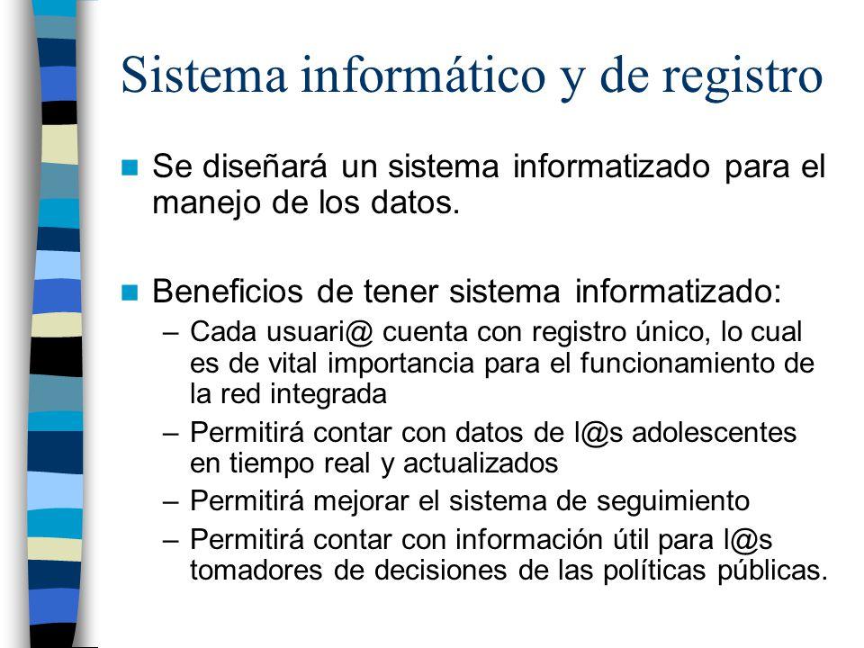 Sistema informático y de registro Se diseñará un sistema informatizado para el manejo de los datos.