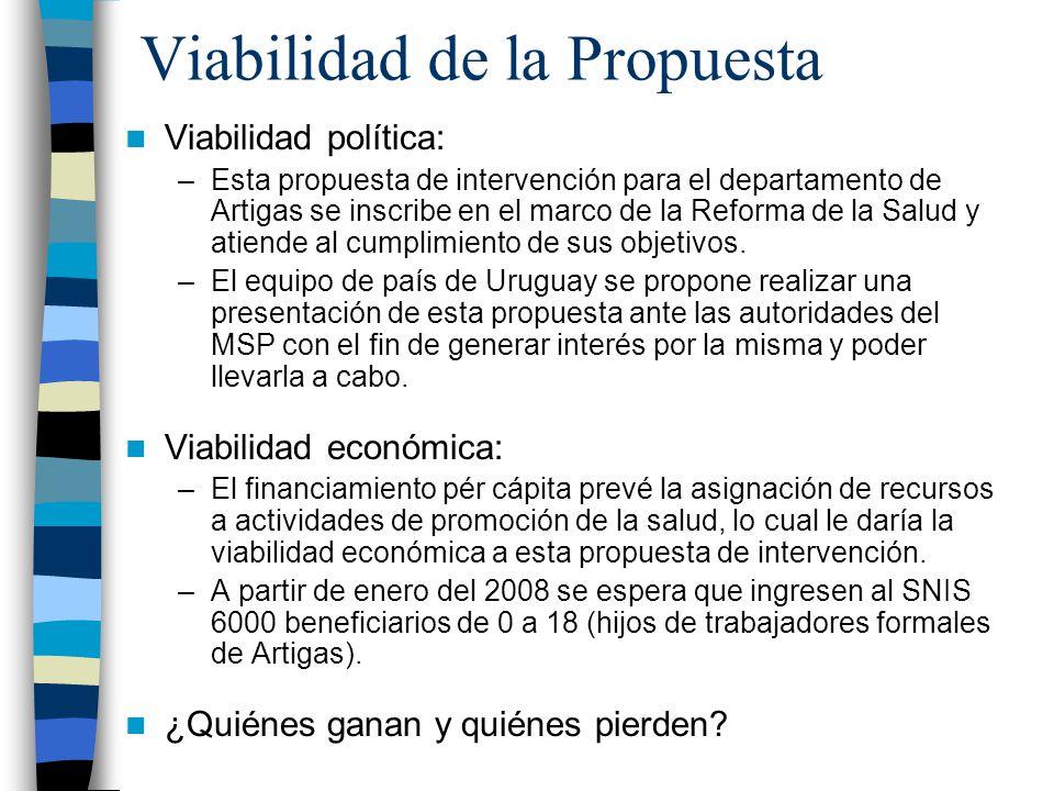 Viabilidad de la Propuesta Viabilidad política: –Esta propuesta de intervención para el departamento de Artigas se inscribe en el marco de la Reforma de la Salud y atiende al cumplimiento de sus objetivos.