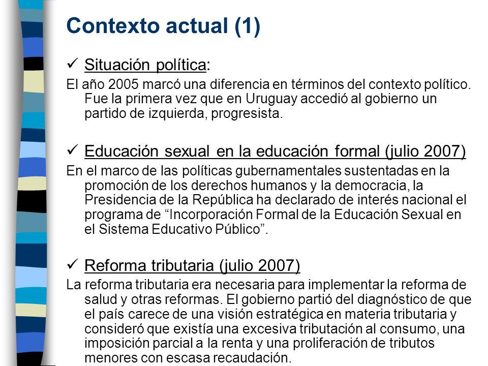 Contexto actual (1) Situación política: El año 2005 marcó una diferencia en términos del contexto político.