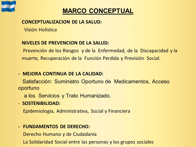 MARCO CONCEPTUAL CONCEPTUALIZACION DE LA SALUD: Visión Holística NIVELES DE PREVENCION DE LA SALUD: Prevención de los Riesgos y de la Enfermedad, de l