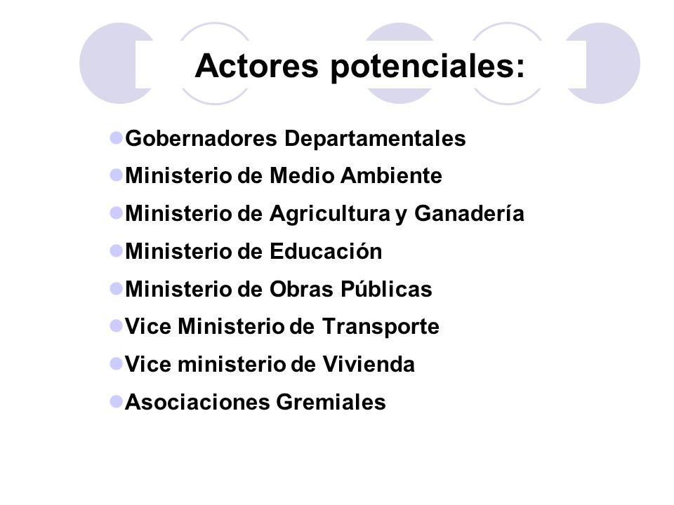Actores potenciales: Gobernadores Departamentales Ministerio de Medio Ambiente Ministerio de Agricultura y Ganadería Ministerio de Educación Ministeri