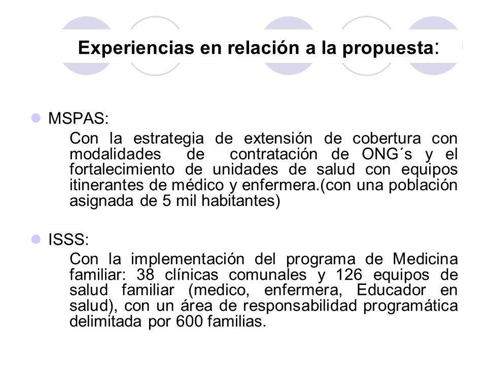 Experiencias en relación a la propuesta : MSPAS: Con la estrategia de extensión de cobertura con modalidades de contratación de ONG´s y el fortalecimi