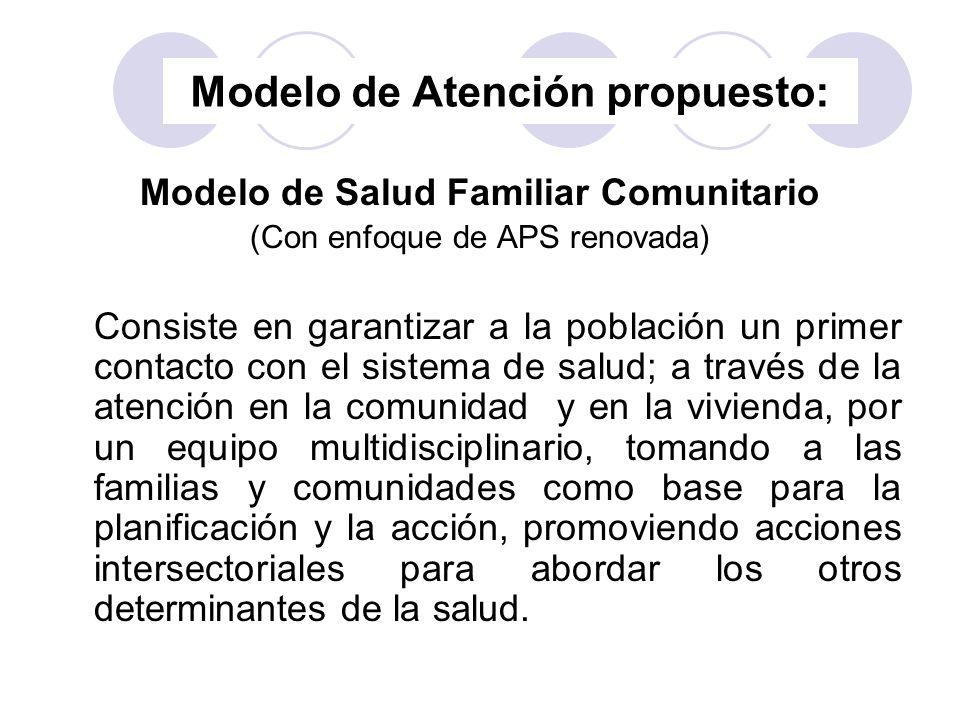 Modelo de Atención propuesto: Modelo de Salud Familiar Comunitario (Con enfoque de APS renovada) Consiste en garantizar a la población un primer conta