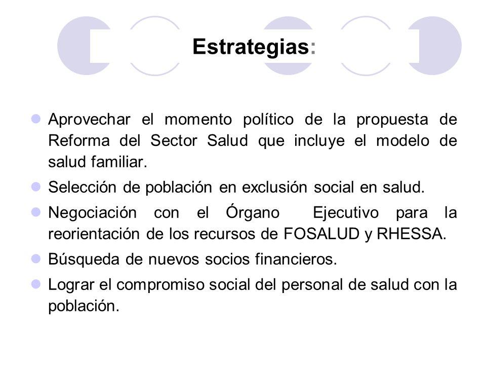 Estrategias: Aprovechar el momento político de la propuesta de Reforma del Sector Salud que incluye el modelo de salud familiar. Selección de població
