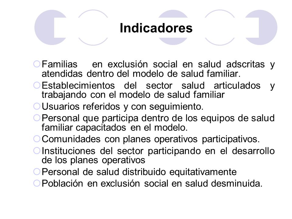 Indicadores Familias en exclusión social en salud adscritas y atendidas dentro del modelo de salud familiar. Establecimientos del sector salud articul