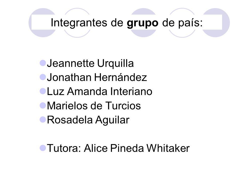 Integrantes de grupo de país: Jeannette Urquilla Jonathan Hernández Luz Amanda Interiano Marielos de Turcios Rosadela Aguilar Tutora: Alice Pineda Whi