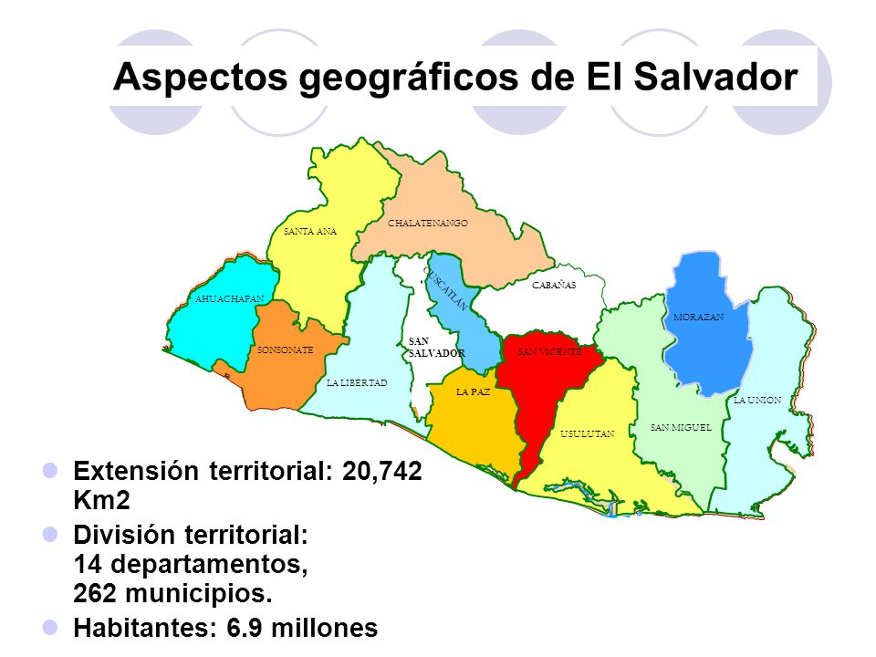 Aspectos geográficos de El Salvador Extensión territorial: 20,742 Km2 División territorial: 14 departamentos, 262 municipios. Habitantes: 6.9 millones