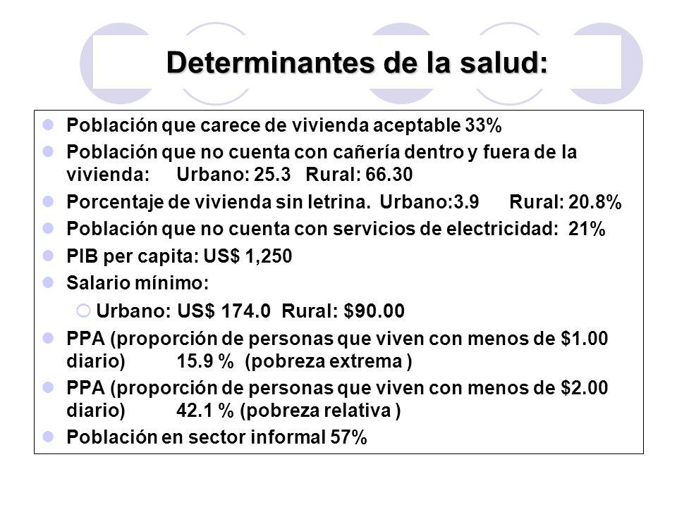 Población que carece de vivienda aceptable 33% Población que no cuenta con cañería dentro y fuera de la vivienda:Urbano: 25.3 Rural: 66.30 Porcentaje