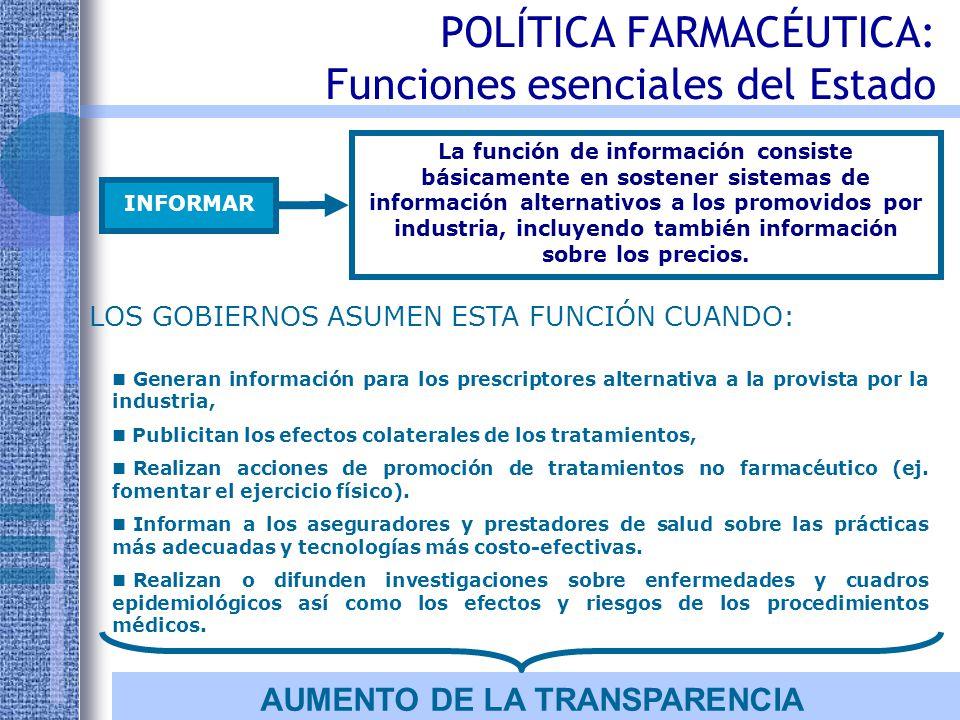 POLÍTICA FARMACÉUTICA: Funciones esenciales del Estado PROVEER Proveer significa que el mercado, aún regulando, no resuelve todos los problemas.