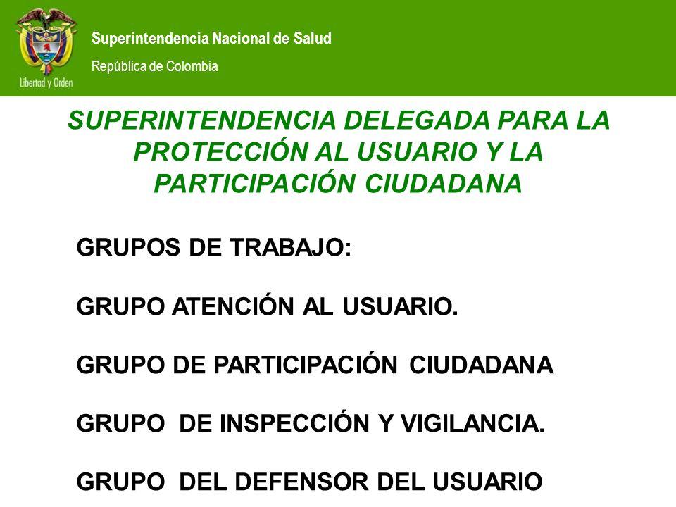 Superintendencia Nacional de Salud República de Colombia GRUPOS DE TRABAJO: GRUPO ATENCIÓN AL USUARIO.