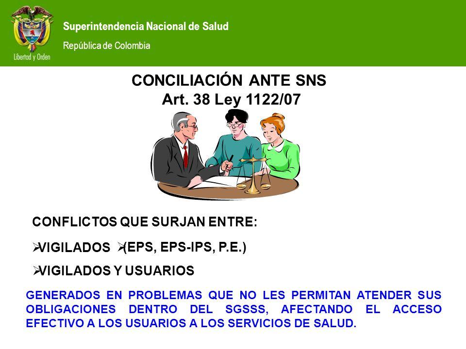Superintendencia Nacional de Salud República de Colombia CONCILIACIÓN ANTE SNS Art.