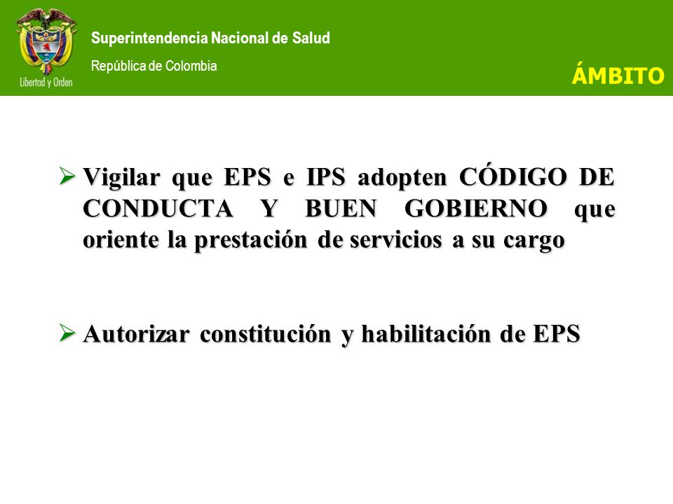 Superintendencia Nacional de Salud República de Colombia SISTEMA DE INSPECCIÓN, VIGILANCIA Y CONTROL