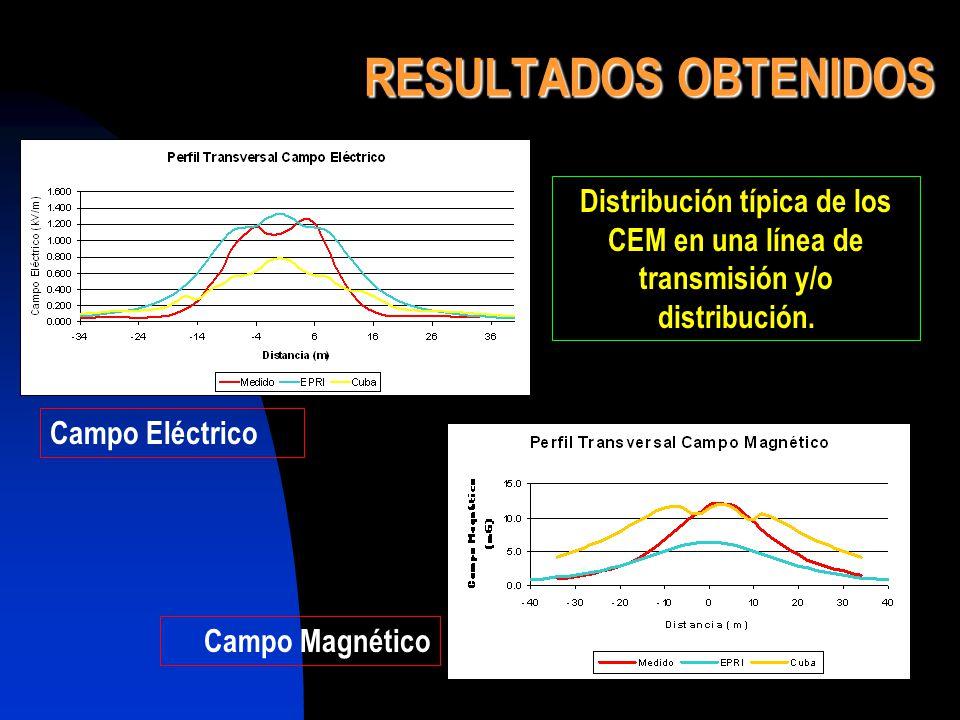 RESULTADOS OBTENIDOS Distribución típica de los CEM en una línea de transmisión y/o distribución. Campo Eléctrico Campo Magnético