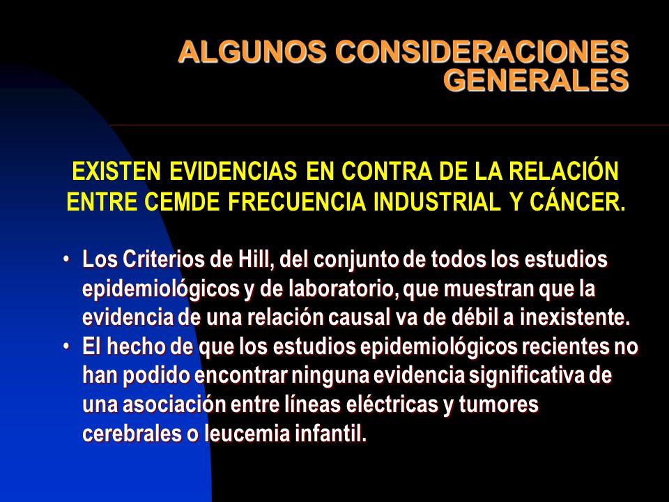ALGUNOS CONSIDERACIONES GENERALES EXISTEN EVIDENCIAS EN CONTRA DE LA RELACIÓN ENTRE CEMDE FRECUENCIA INDUSTRIAL Y CÁNCER. Los Criterios de Hill, del c