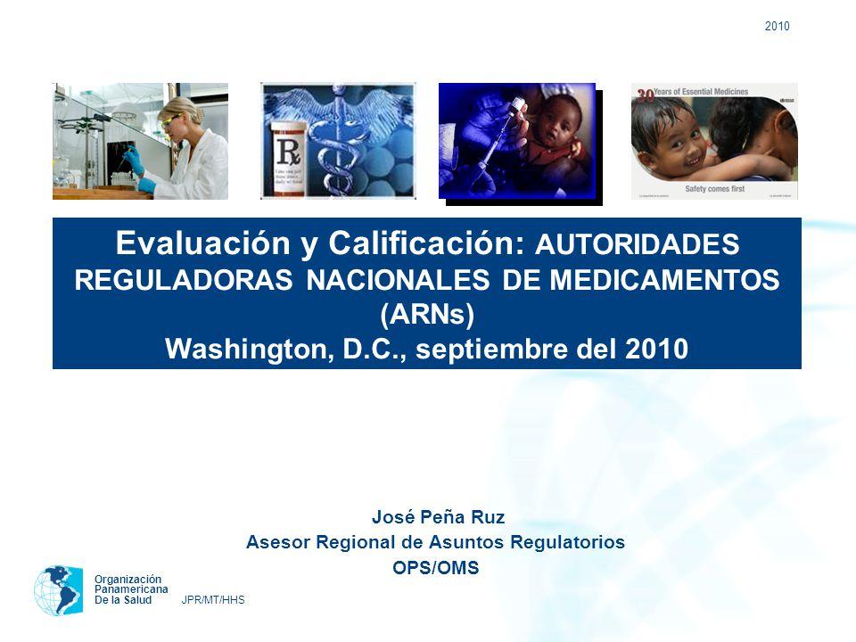 2010 Organización Panamericana De la Salud JPR/MT/HHS José Peña Ruz Asesor Regional de Asuntos Regulatorios OPS/OMS Evaluación y Calificación: AUTORID