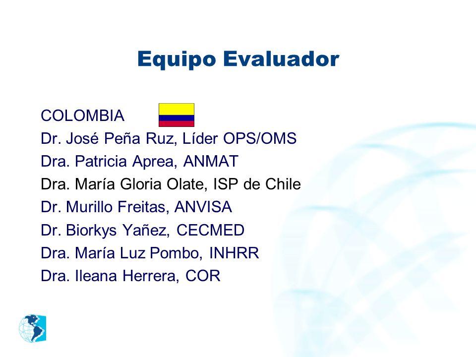 Equipo Evaluador COLOMBIA Dr. José Peña Ruz, Líder OPS/OMS Dra. Patricia Aprea, ANMAT Dra. María Gloria Olate, ISP de Chile Dr. Murillo Freitas, ANVIS