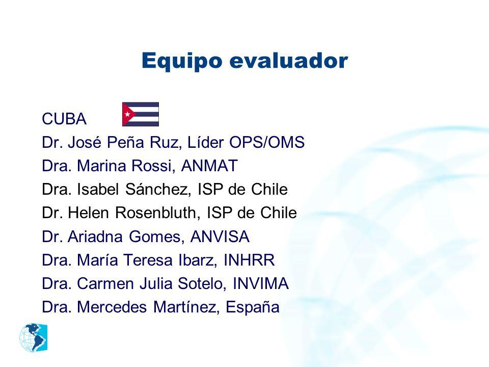 Equipo evaluador CUBA Dr. José Peña Ruz, Líder OPS/OMS Dra. Marina Rossi, ANMAT Dra. Isabel Sánchez, ISP de Chile Dr. Helen Rosenbluth, ISP de Chile D