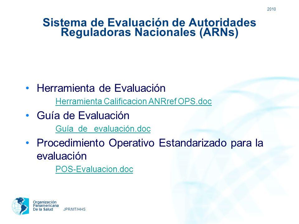 2010 Organización Panamericana De la Salud JPR/MT/HHS Sistema de Evaluación de Autoridades Reguladoras Nacionales (ARNs) Herramienta de Evaluación Her