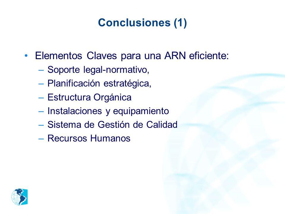 Conclusiones (1) Elementos Claves para una ARN eficiente: –Soporte legal-normativo, –Planificación estratégica, –Estructura Orgánica –Instalaciones y