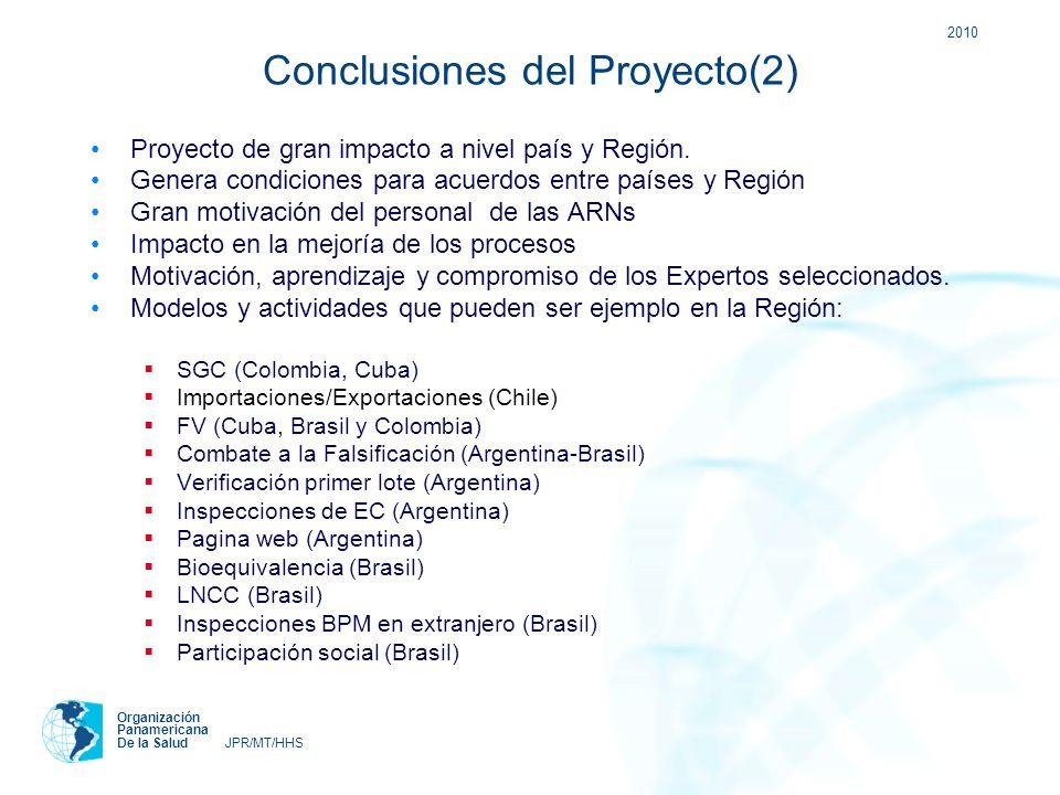 2010 Organización Panamericana De la Salud JPR/MT/HHS Conclusiones del Proyecto(2) Proyecto de gran impacto a nivel país y Región. Genera condiciones