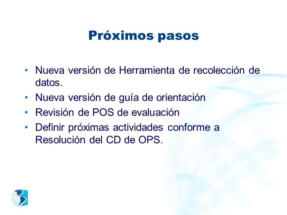 Próximos pasos Nueva versión de Herramienta de recolección de datos. Nueva versión de guía de orientación Revisión de POS de evaluación Definir próxim