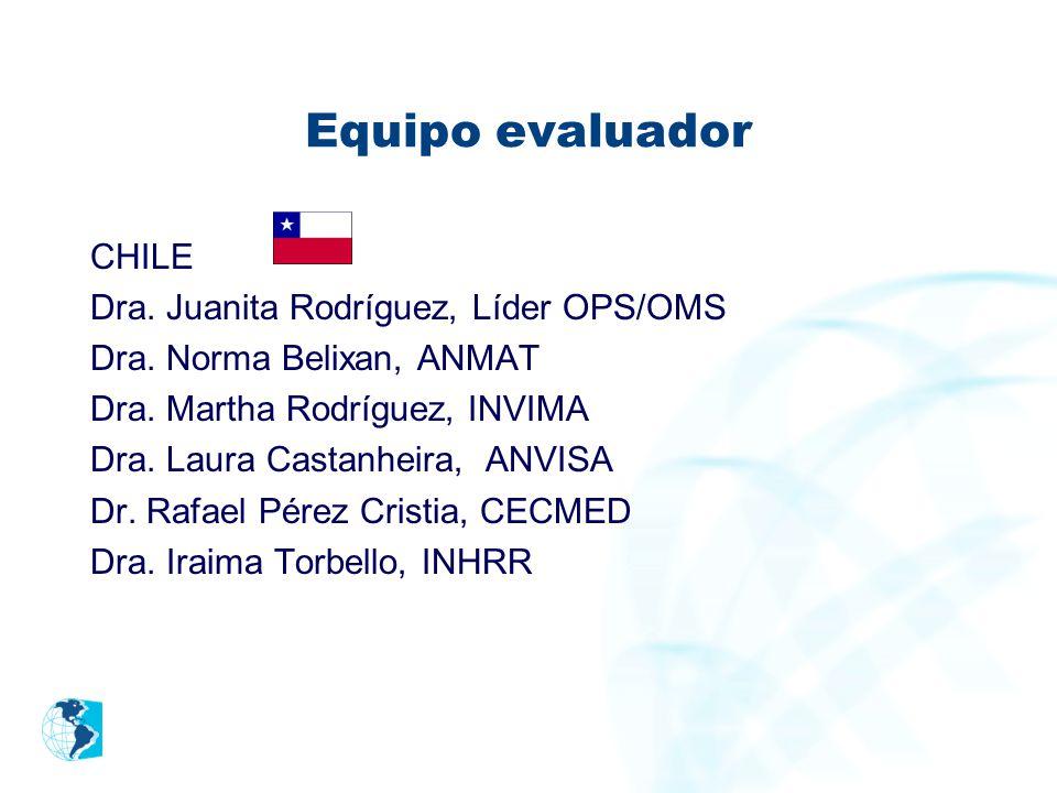 Equipo evaluador CHILE Dra. Juanita Rodríguez, Líder OPS/OMS Dra. Norma Belixan, ANMAT Dra. Martha Rodríguez, INVIMA Dra. Laura Castanheira, ANVISA Dr