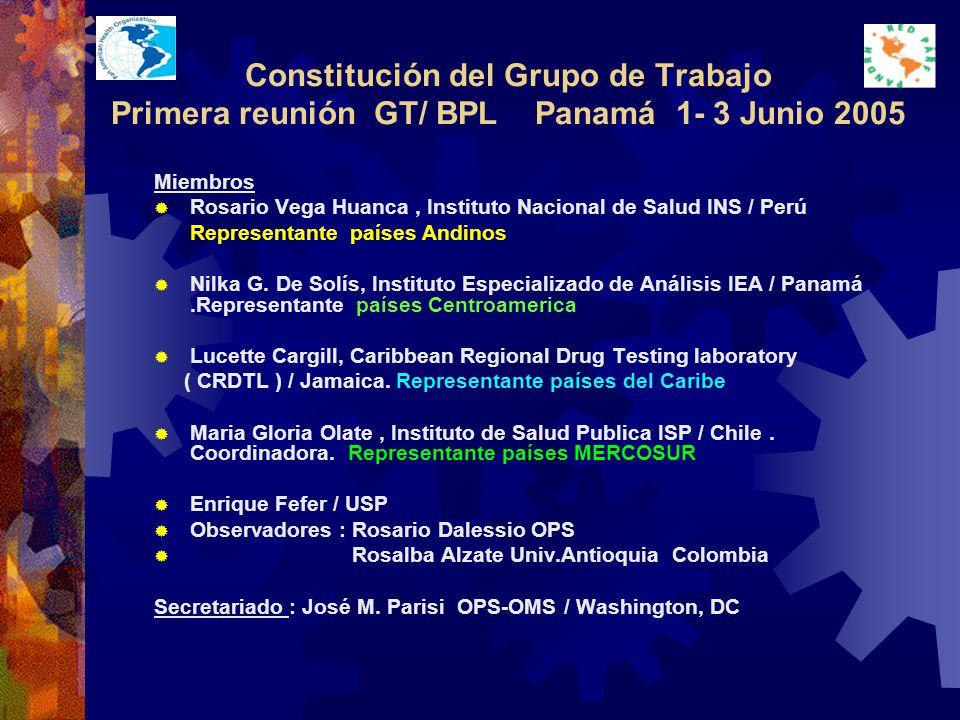 Constitución del Grupo de Trabajo Primera reunión GT/ BPL Panamá 1- 3 Junio 2005 Miembros Rosario Vega Huanca, Instituto Nacional de Salud INS / Perú Representante países Andinos Nilka G.