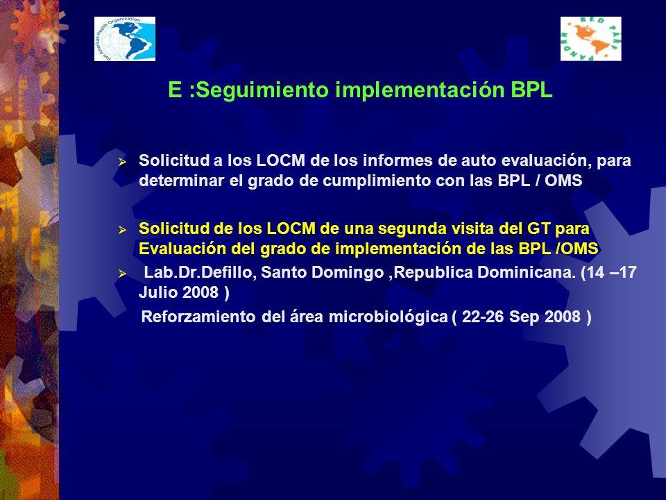 E :Seguimiento implementación BPL Solicitud a los LOCM de los informes de auto evaluación, para determinar el grado de cumplimiento con las BPL / OMS Solicitud de los LOCM de una segunda visita del GT para Evaluación del grado de implementación de las BPL /OMS Lab.Dr.Defillo, Santo Domingo,Republica Dominicana.