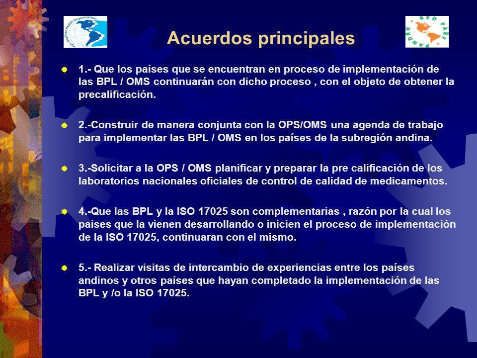 Acuerdos principales 1.- Que los países que se encuentran en proceso de implementación de las BPL / OMS continuarán con dicho proceso, con el objeto de obtener la precalificación.
