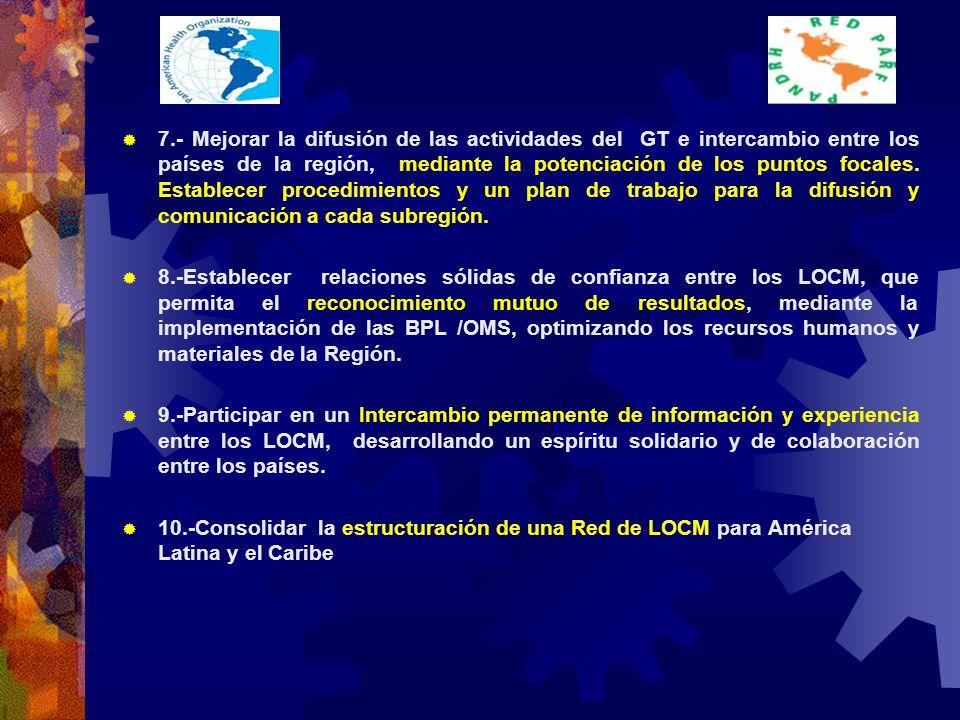 7.- Mejorar la difusión de las actividades del GT e intercambio entre los países de la región, mediante la potenciación de los puntos focales.
