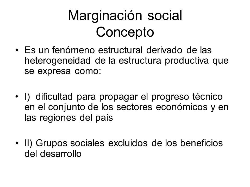 Marginación social Concepto Es un fenómeno estructural derivado de las heterogeneidad de la estructura productiva que se expresa como: I) dificultad p
