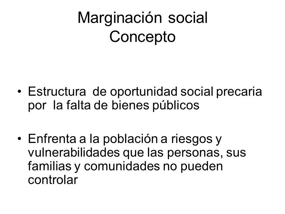 Marginación social Concepto Estructura de oportunidad social precaria por la falta de bienes públicos Enfrenta a la población a riesgos y vulnerabilid