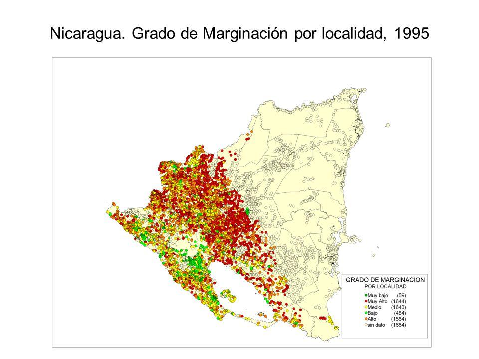 Nicaragua. Grado de Marginación por localidad, 1995