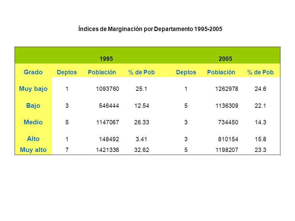 19952005 Grado DeptosPoblación% de PobDeptosPoblación% de Pob Muy bajo 1109376025.11126297824.6 Bajo 354644412.545113630922.1 Medio 5114706726.3337344
