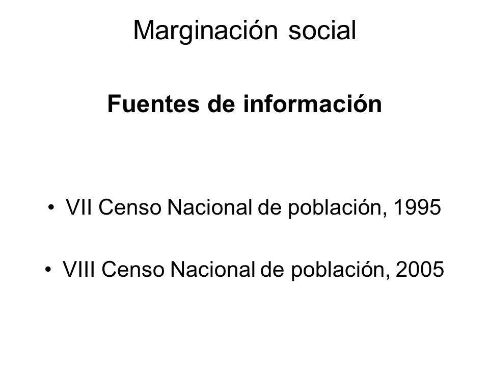 Marginación social Fuentes de información VII Censo Nacional de población, 1995 VIII Censo Nacional de población, 2005