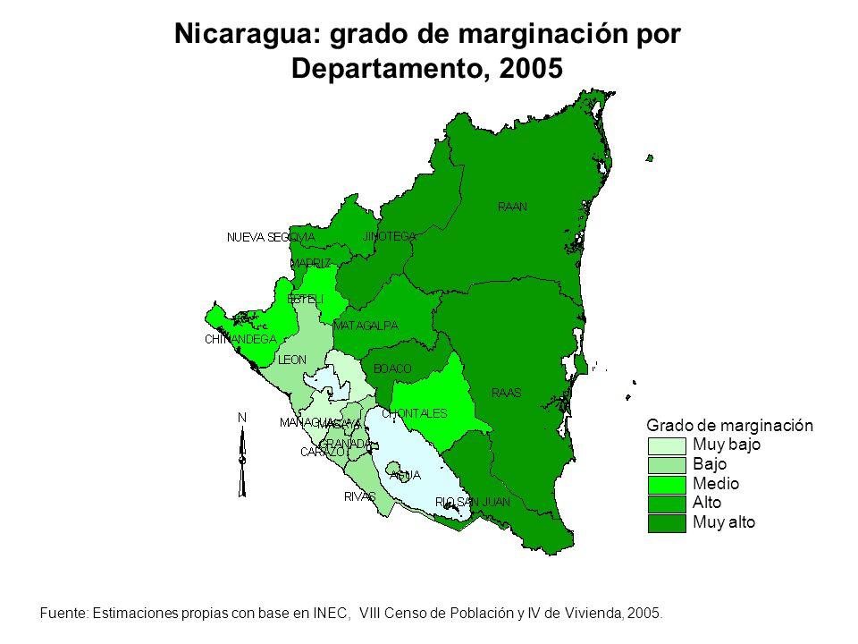 Grado de marginación Muy bajo Bajo Medio Alto Muy alto Nicaragua: grado de marginación por Departamento, 2005 Fuente: Estimaciones propias con base en