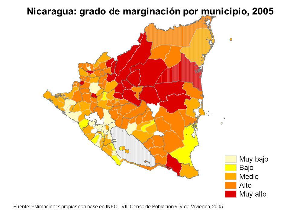 Muy bajo Bajo Medio Alto Muy alto Nicaragua: grado de marginación por municipio, 2005 Fuente: Estimaciones propias con base en INEC, VIII Censo de Pob