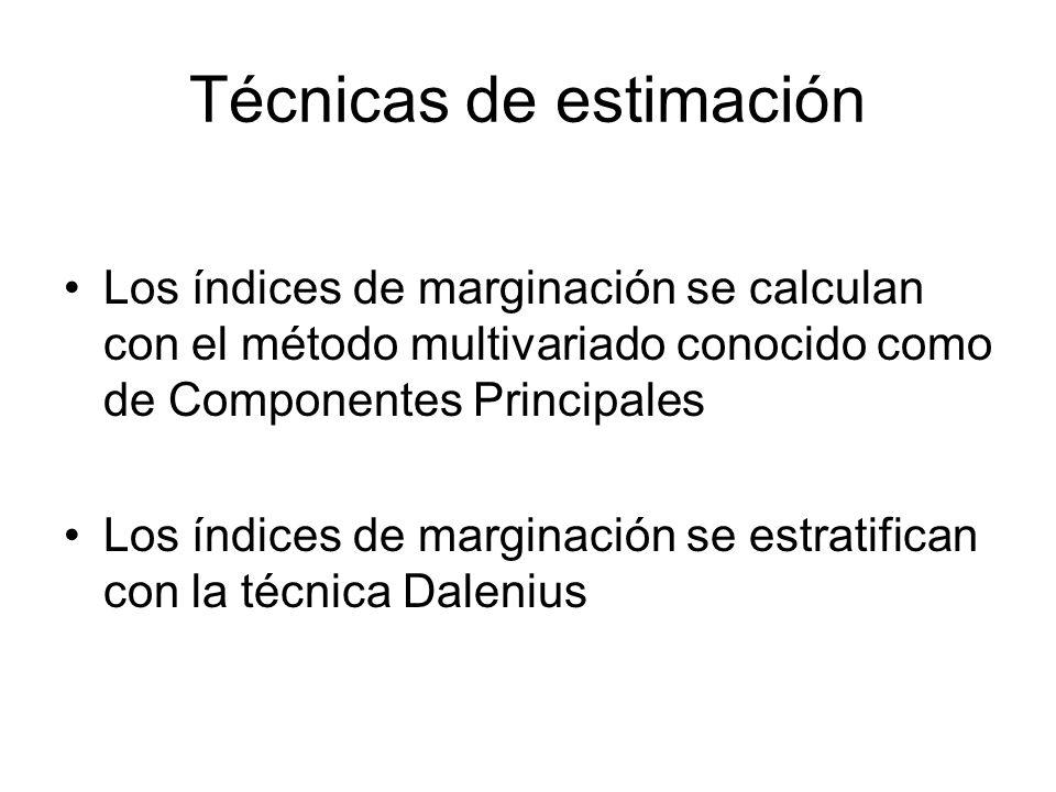 Técnicas de estimación Los índices de marginación se calculan con el método multivariado conocido como de Componentes Principales Los índices de margi