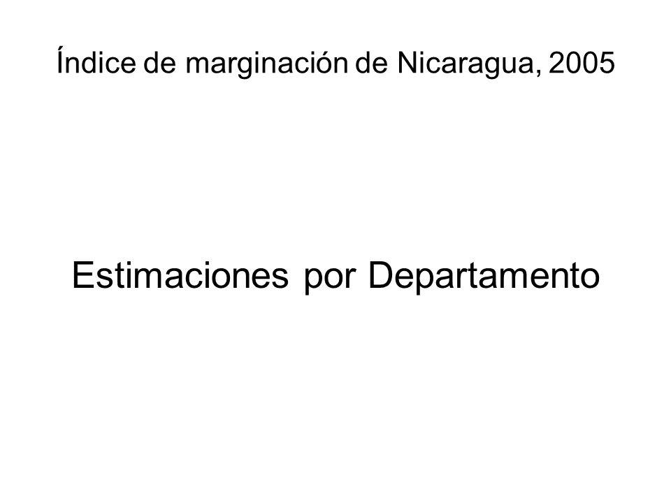 Índice de marginación de Nicaragua, 2005 Estimaciones por Departamento