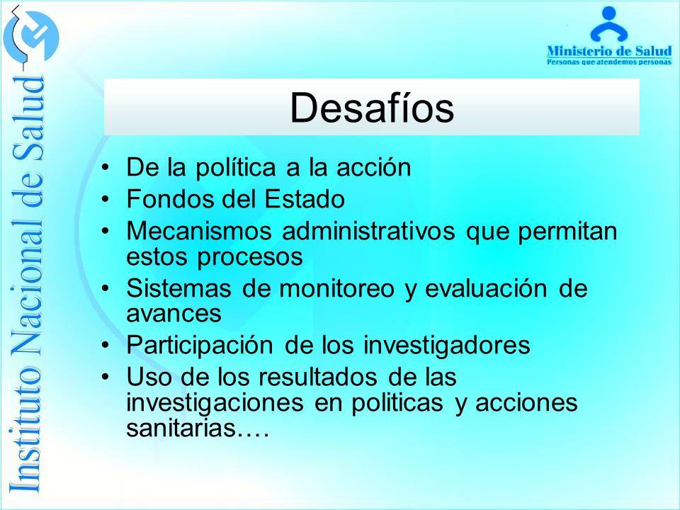 De la política a la acción Fondos del Estado Mecanismos administrativos que permitan estos procesos Sistemas de monitoreo y evaluación de avances Participación de los investigadores Uso de los resultados de las investigaciones en politicas y acciones sanitarias….