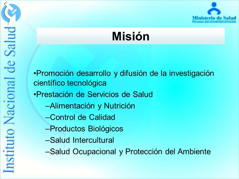 Misión Promoción desarrollo y difusión de la investigación científico tecnológica Prestación de Servicios de Salud –Alimentación y Nutrición –Control de Calidad –Productos Biológicos –Salud Intercultural –Salud Ocupacional y Protección del Ambiente