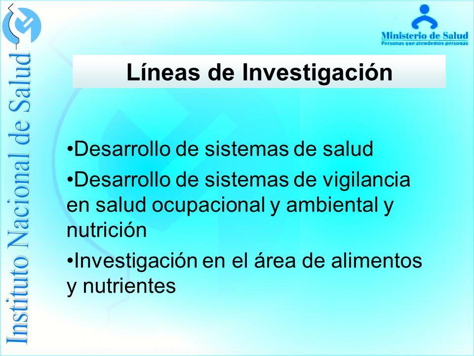 Líneas de Investigación Desarrollo de sistemas de salud Desarrollo de sistemas de vigilancia en salud ocupacional y ambiental y nutrición Investigación en el área de alimentos y nutrientes