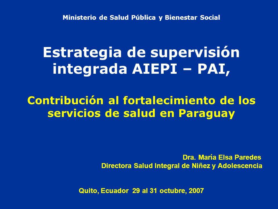 Ministerio de Salud Pública y Bienestar Social Estrategia de supervisión integrada AIEPI – PAI, Contribución al fortalecimiento de los servicios de salud en Paraguay Dra.