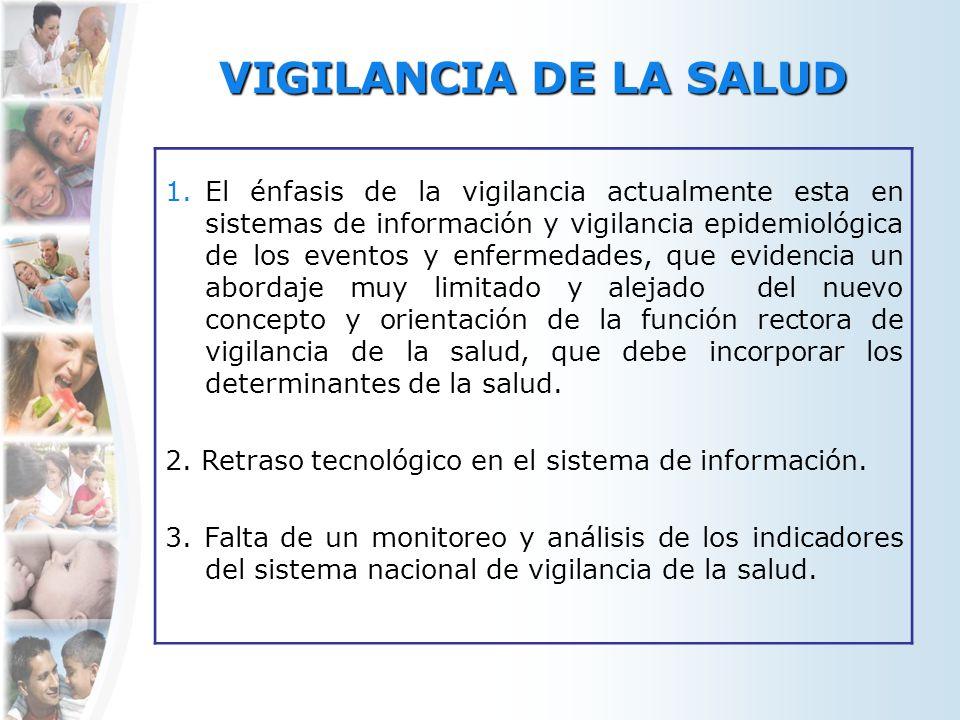 VIGILANCIA DE LA SALUD 1.El énfasis de la vigilancia actualmente esta en sistemas de información y vigilancia epidemiológica de los eventos y enfermed
