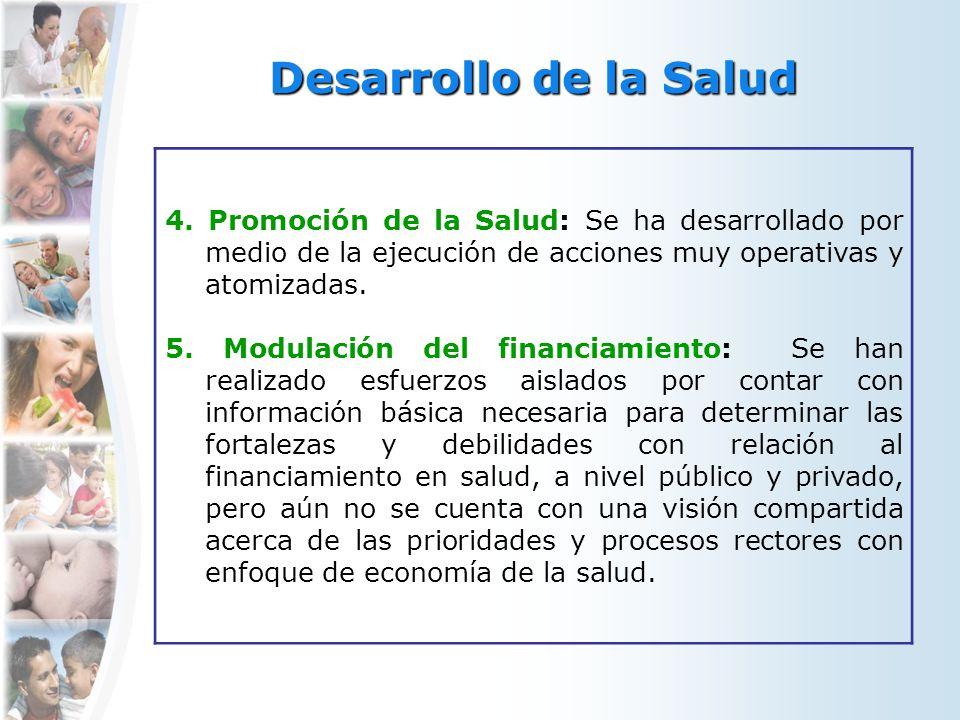 Desarrollo de la Salud 4. Promoción de la Salud: Se ha desarrollado por medio de la ejecución de acciones muy operativas y atomizadas. 5. Modulación d