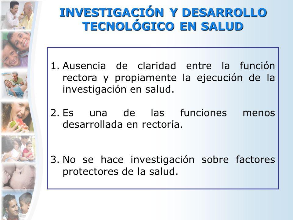 INVESTIGACIÓN Y DESARROLLO TECNOLÓGICO EN SALUD 1.Ausencia de claridad entre la función rectora y propiamente la ejecución de la investigación en salu