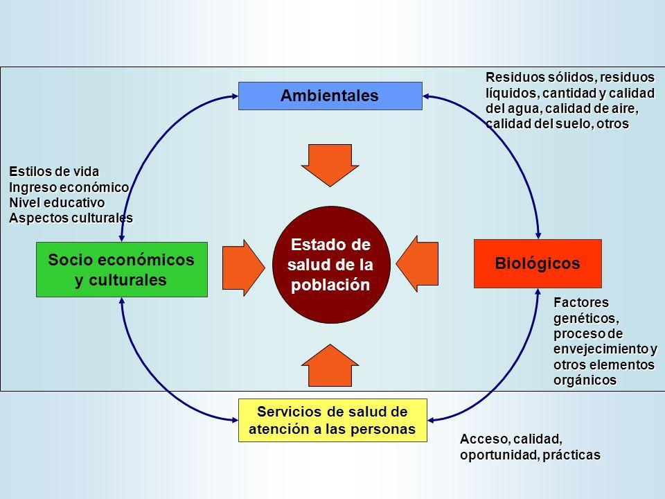Estado de salud de la población Acceso, calidad, oportunidad, prácticas Ambientales Residuos sólidos, residuos líquidos, cantidad y calidad del agua,