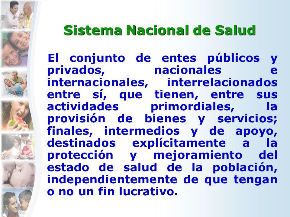 Sistema Nacional de Salud El conjunto de entes públicos y privados, nacionales e internacionales, interrelacionados entre sí, que tienen, entre sus ac