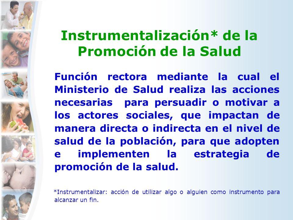 Instrumentalización* de la Promoción de la Salud Función rectora mediante la cual el Ministerio de Salud realiza las acciones necesarias para persuadi